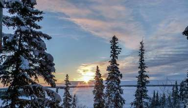 winter sunrise at Blachford Lake Lodge