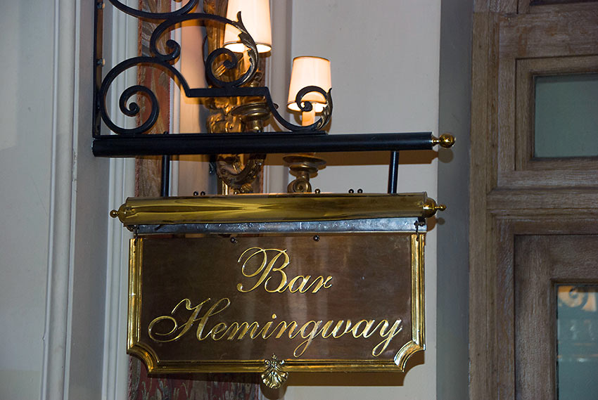 signage at the Bar Hemingway, Ritz Hotel on rue Cambon