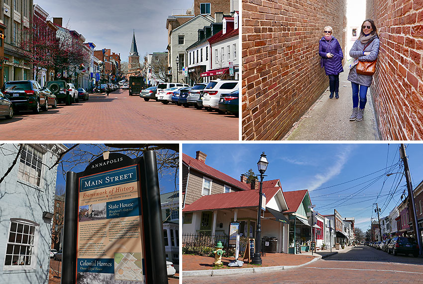 narrow, brick-paved streets at Annapolis