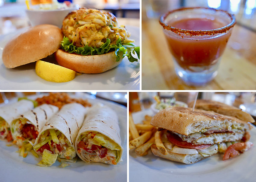 flounder BLT, cod fish tacos, crab cake and an Oyster Mary shooter rimmed with Old Bay at local favorite Boatyard Bar & Grill