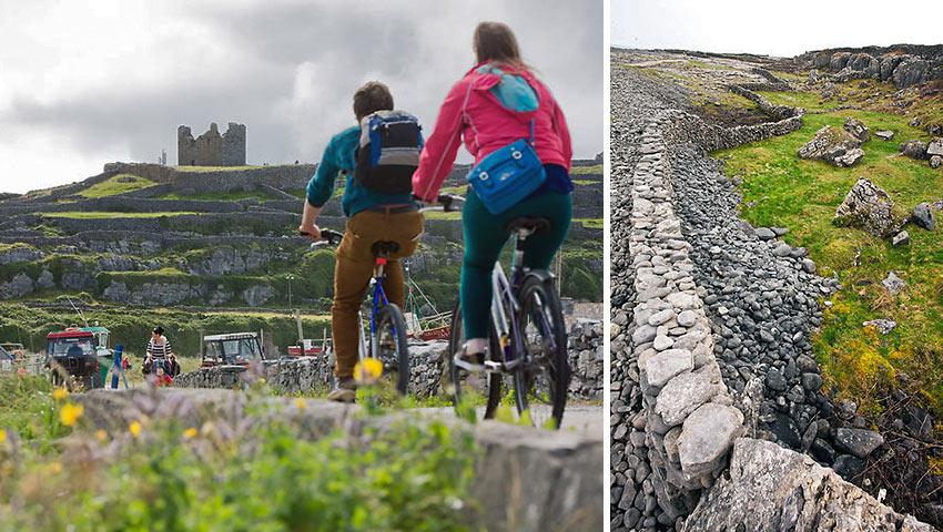 biking at the Aran Islands; a wall on the Aran Islands