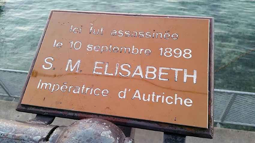 plaque devoted to Empress Elisabeth of Austria who was stabbed to death in 1898 by an Italian anarchist