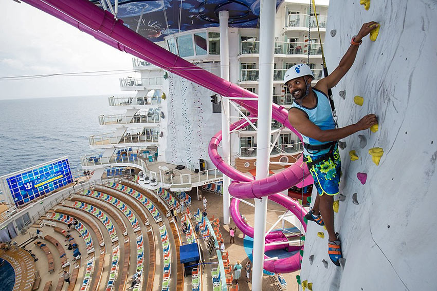 rock-climbing wall at the Harmony of the Seas