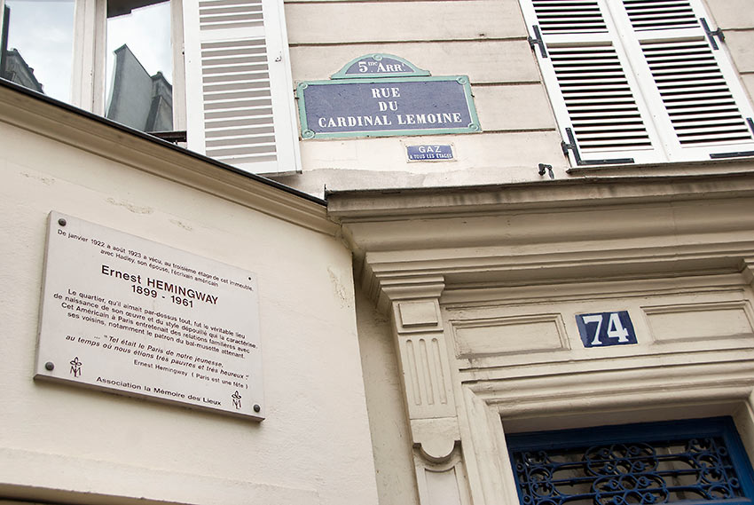 Hemingway's first apartment on 74 rue du Cardinal Lemoine, Left Bank of Paris