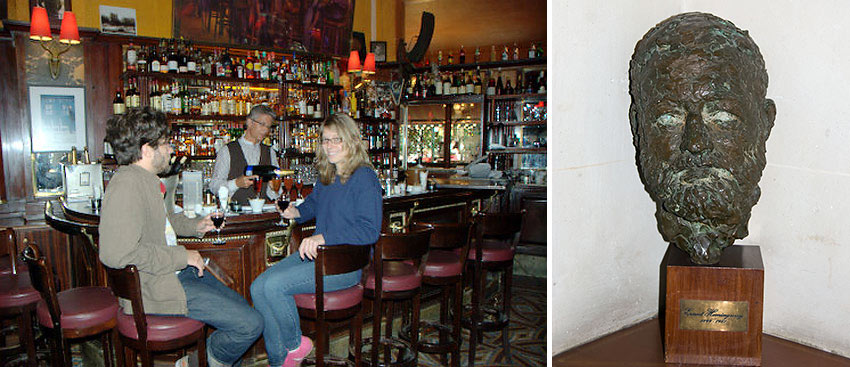 the La Closerie de Lilas and a bust of Hemingway at the Ritz Hotel, Paris