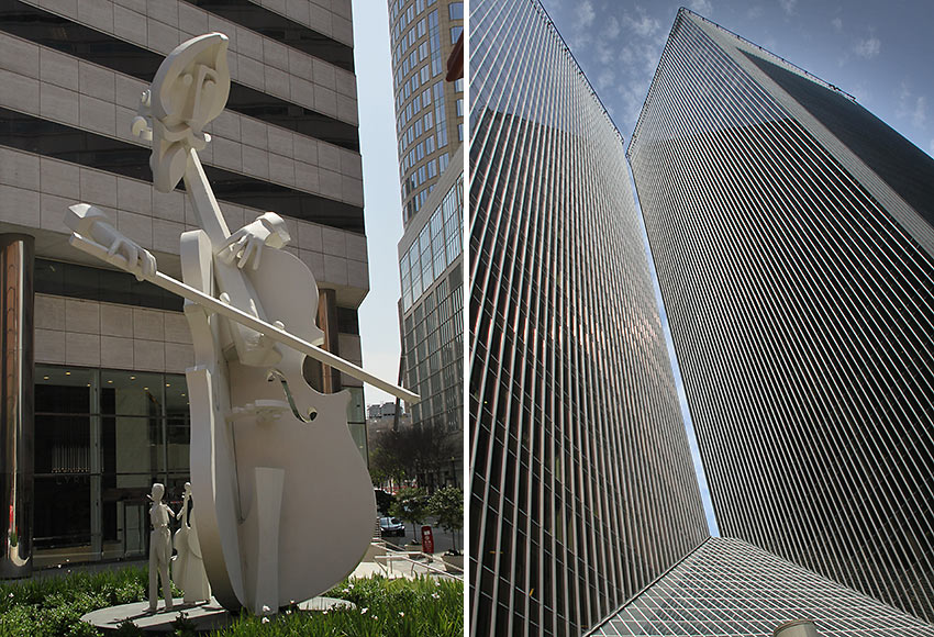 Sculptor David Adickes' Virtuoso and Pennzoil Place's two 36-story towers
