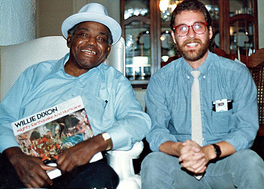 the writer with Willie Dixon at his home in Southern California, 1987