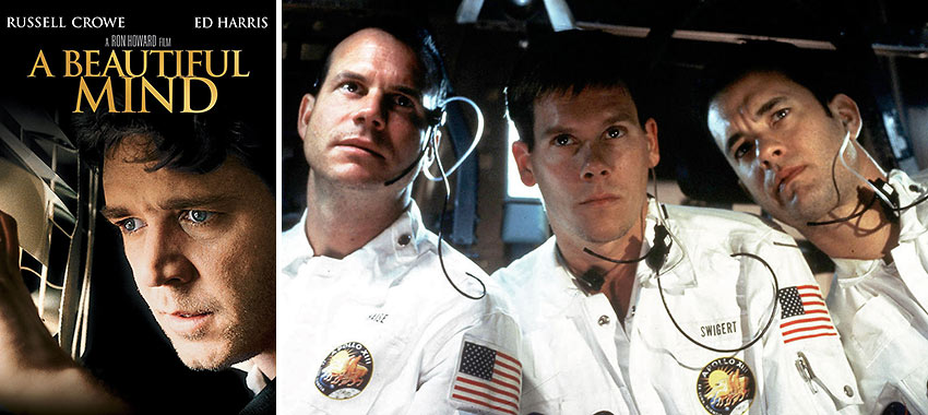 movie poster for 'The Beautiful Mind' and a scene from 'Apollo 13'