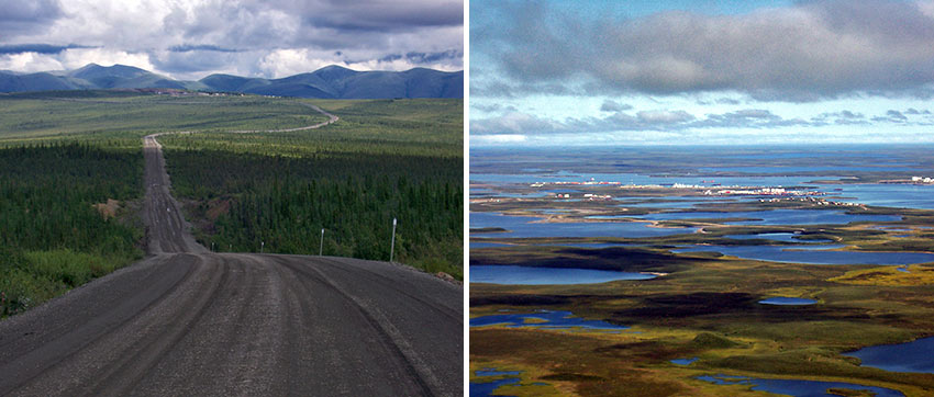the Arctic Highway and Tuktoyaktuk