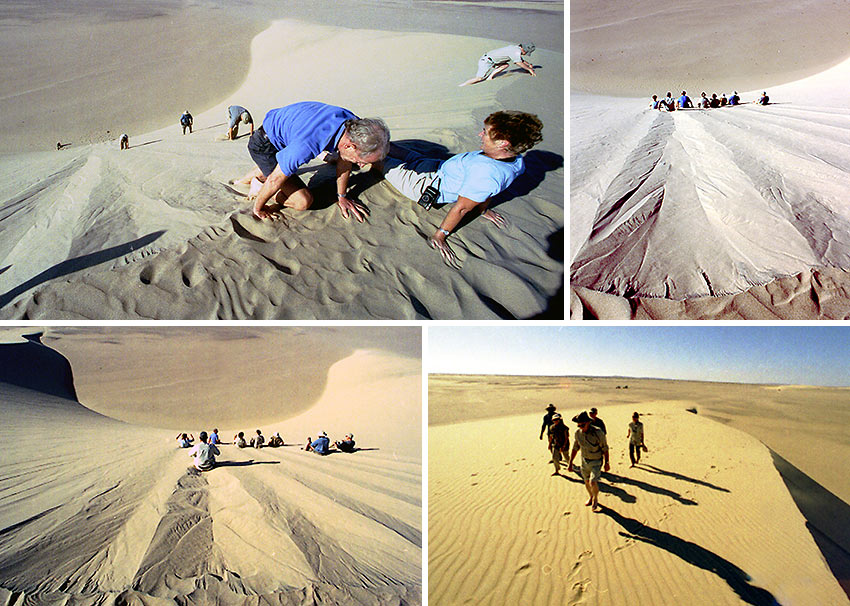 hiking up and sliding down the sand dunes, Namibia