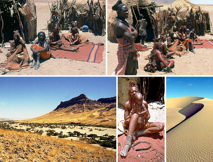 Himba families and desert scenery