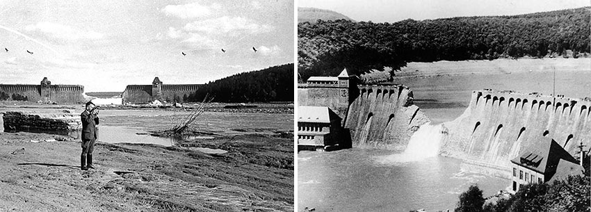 damage to the Moehne Dam after the raid