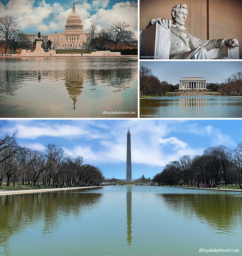 Capitol Building, Lincoln Memorial and Washington Monument