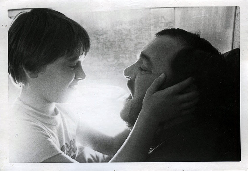Luciano Pavarotti and son