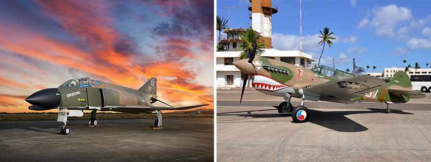 plane exhibits at Pearl Harbor Aviation Museum