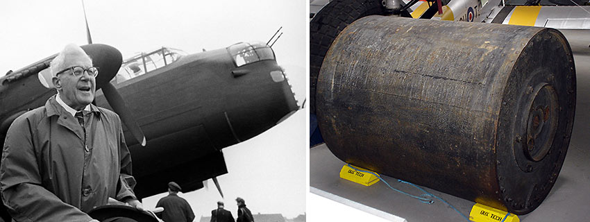 English scientist, engineer and inventor Sir Barnes Neville Wallis and his dambusting bomb