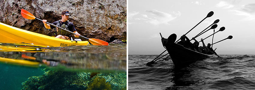 Clay Downing kayaking at Scorpion Harbor and Chumash paddling out to the Channel Islands