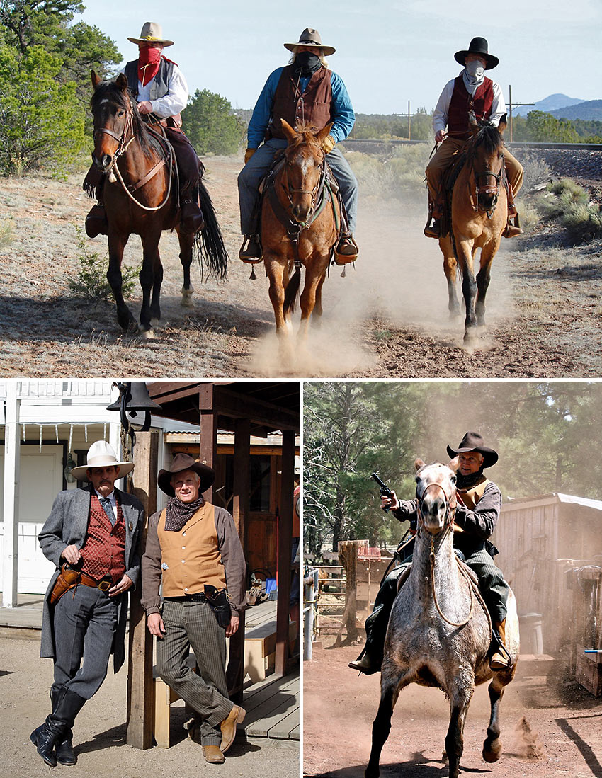 author taking part in a Wild West re-enactment at Williams