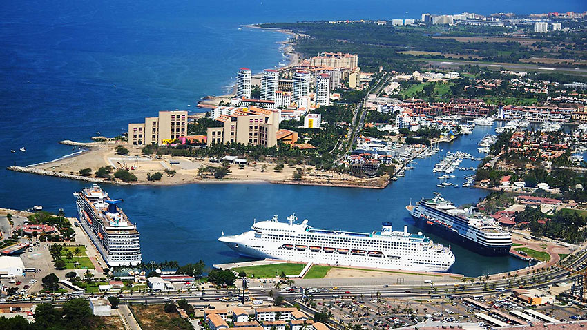 an array of cruise ships at Puerto Vallarta