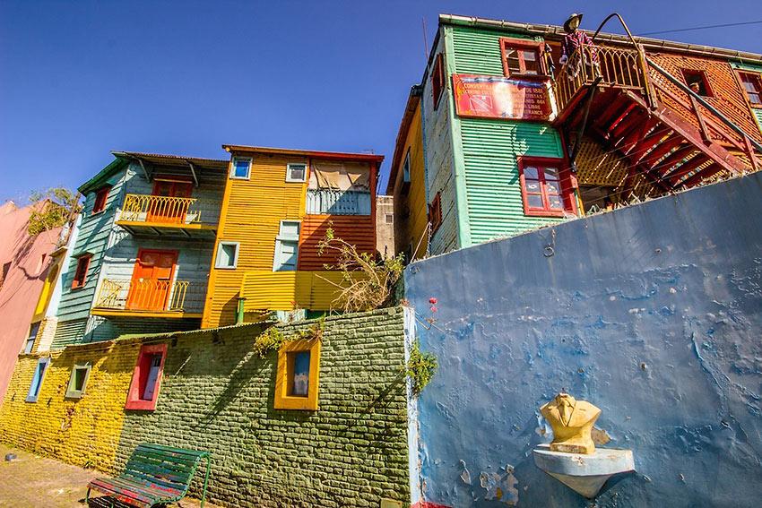 houses at the eclectic La Boca Italian immigrant barrio