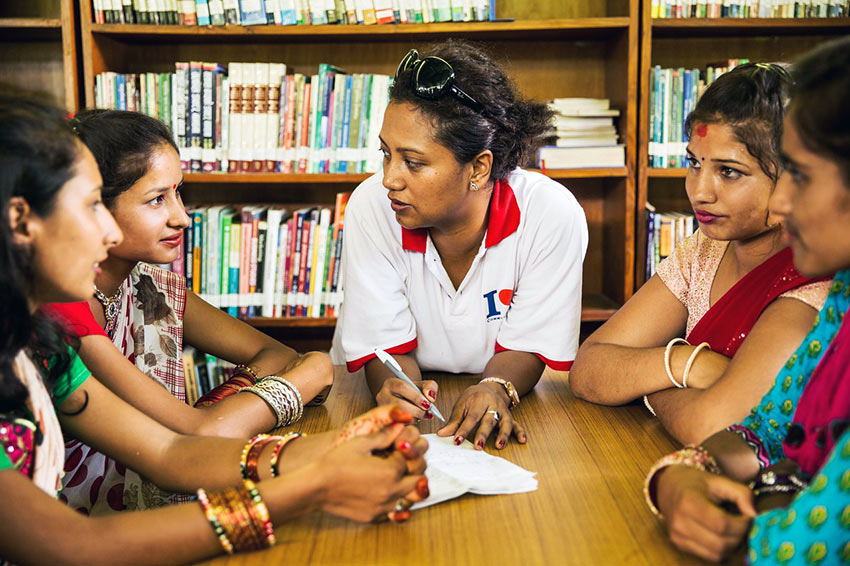 young Nepali women at a library