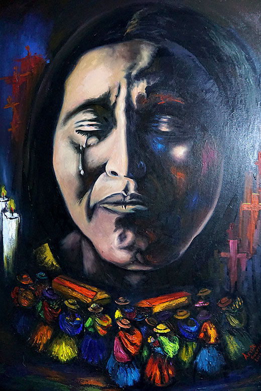painting expressing the pain and long nights of waiting experienced by the many mothers whose husbands or children disappeared