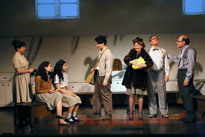 Anne Frank (Ava Lalezarzadeh), her family and friends in a scene from 'Anne'