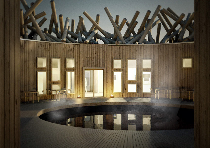 artist's impression of the Arctic Bath floating hotel and spa