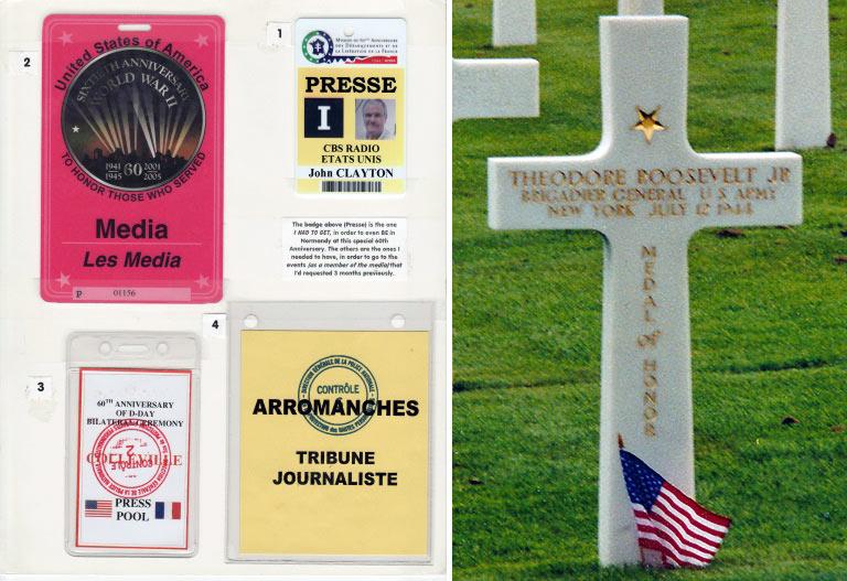 Normandy press/media badges and Brig. Gen. Teddy Roosevelt's grave