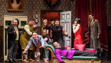 the company of the national tour of 'The Play That Goes Wrong'