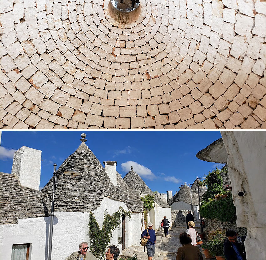 the trulli of Alberobello and a view under one of the domed, conical roofs