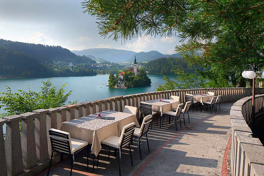 view of Lake Bled from Marshal Tito's summer villa