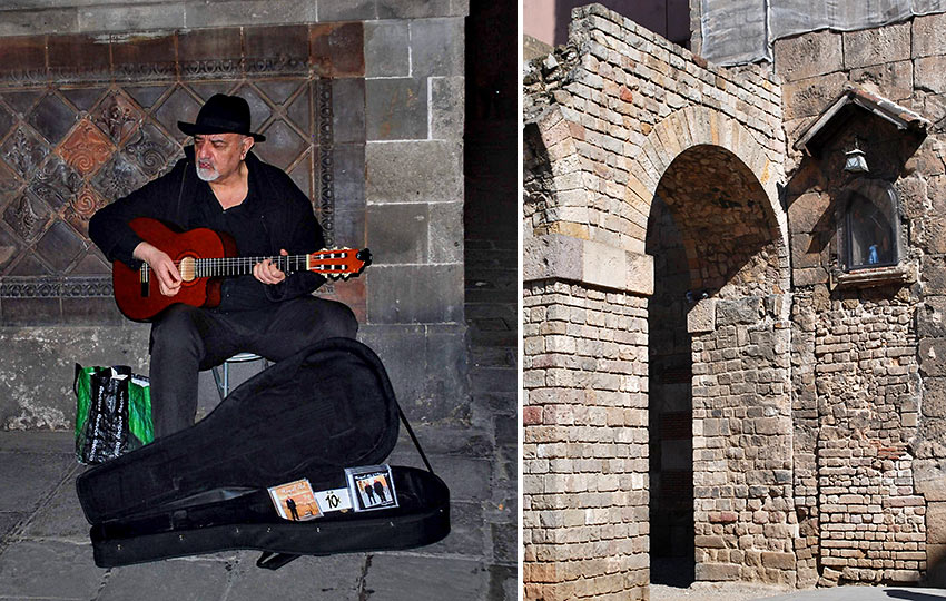 guitarist playing in Barcelona's Gothic Quarter; an arched structure at the Gothic Quarter