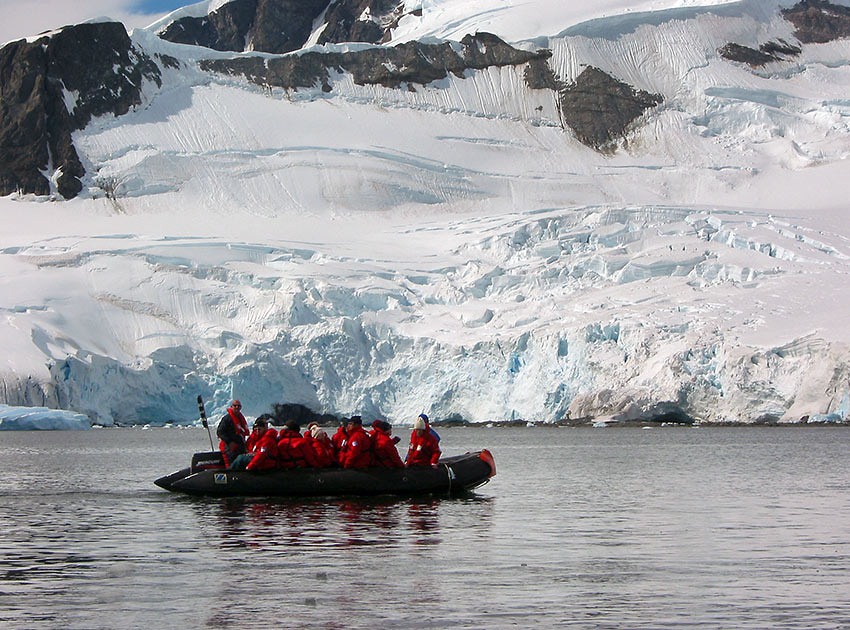 Discovery tour guests on small boat