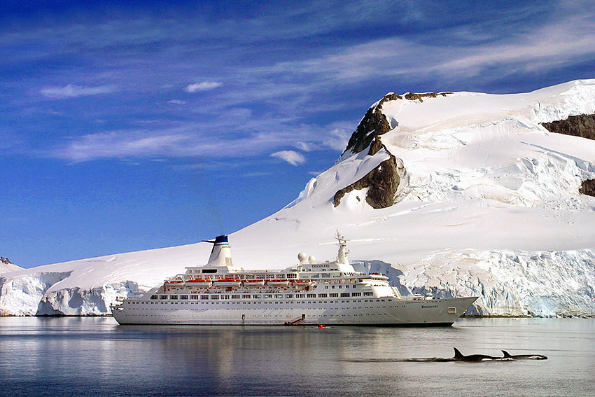 the MV Discovery at Antarctica