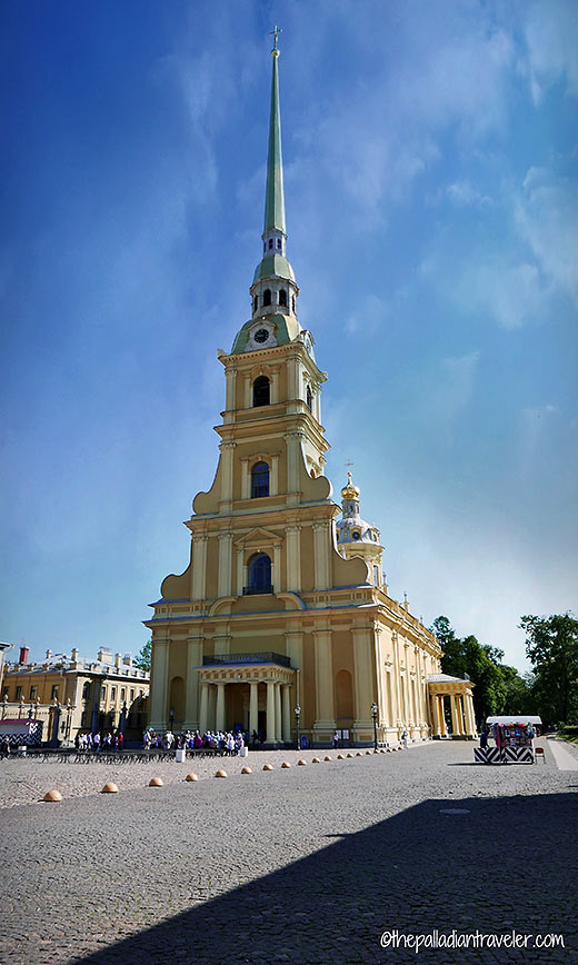 the 404 ft. bell tower of the Saints Peter and Paul Cathedral