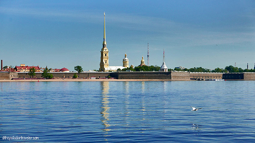 the Peter and Paul Fortress viewed from the Neva River, St. Petersburg