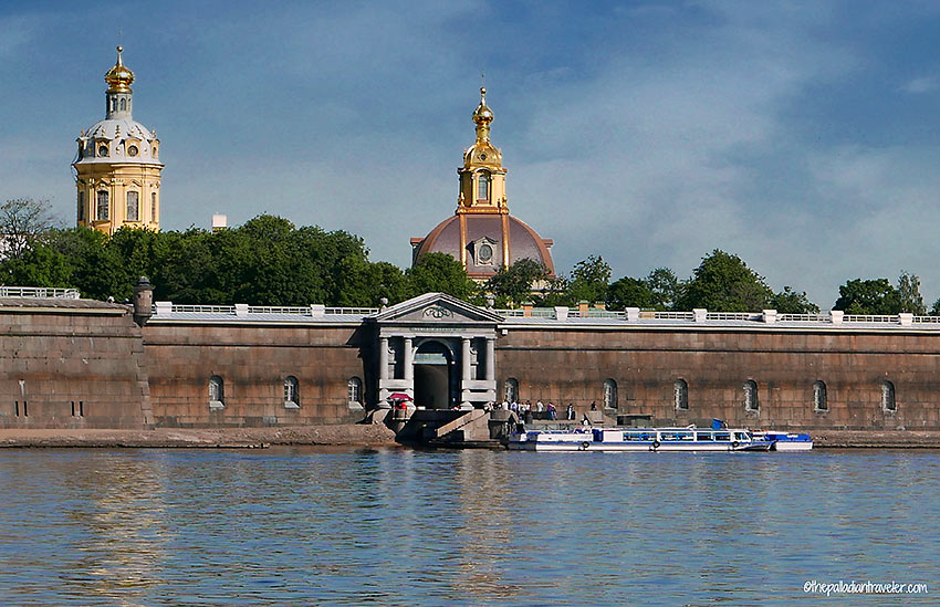 closer view of the Peter and Paul Fortress at Zayachy Ostrov