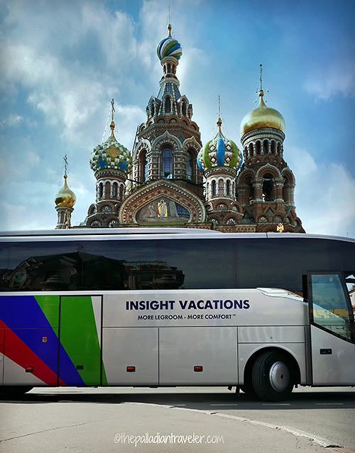 Insight Vacations bus at the the Church of Our Savior on the Spilt Blood, St. Petersburg