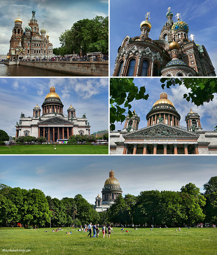 the Church of Our Savior on the Spilt Blood and St. Issac's Cathedral, St. Petersburg