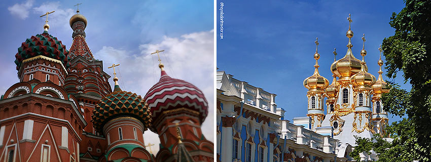cathedrals at Moscow and St. Petersburg