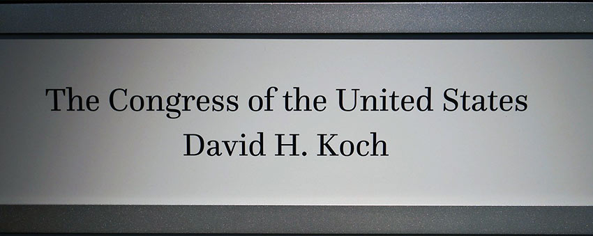 snap of top of contributors' plaque for Fossil Hall