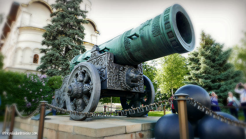 the Tsar Cannon located just past the Kremlin Armory