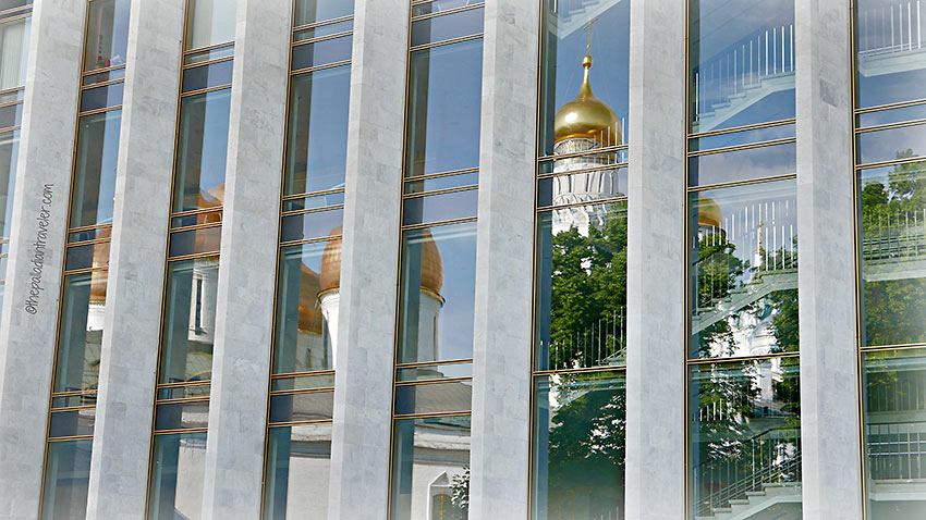concrete and glass wall of the State Kremlin Palace