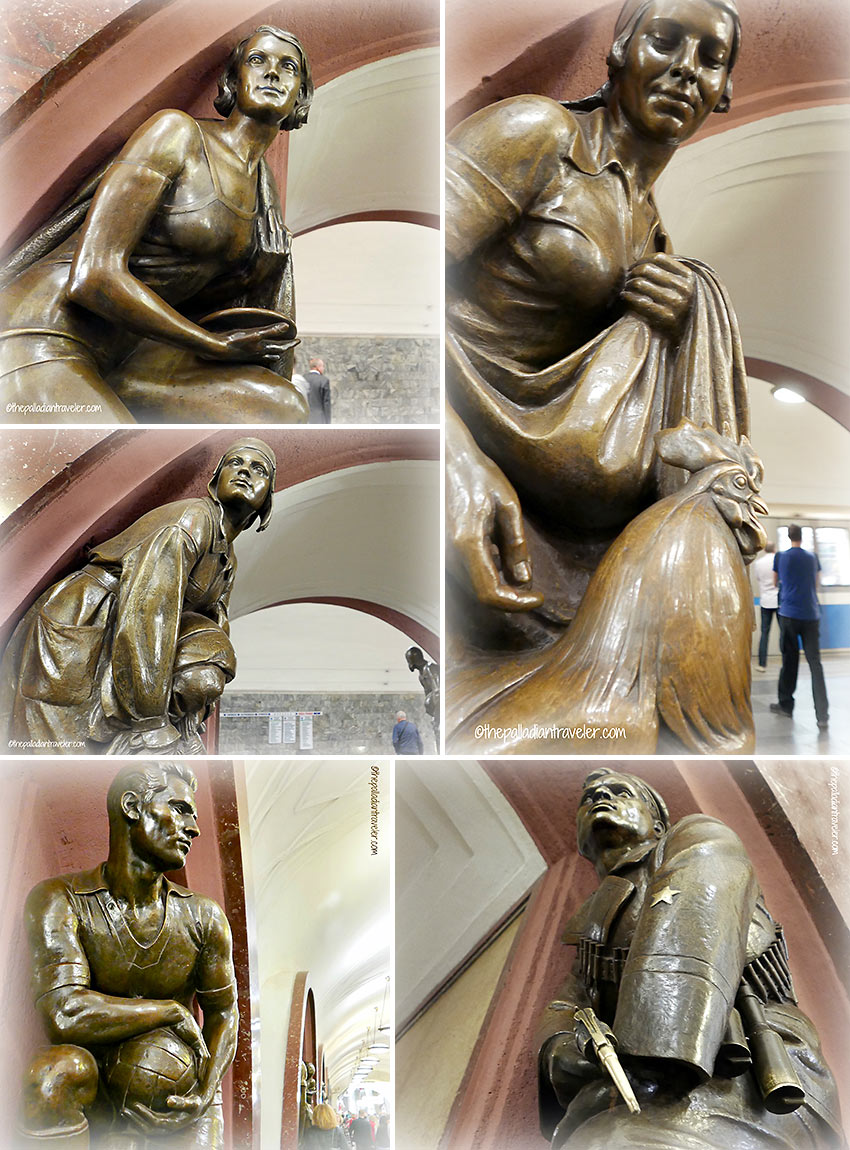 Matvey Manizer's bronze sculptures at the Ploshchad Revolyutsii (Revolution Square) station