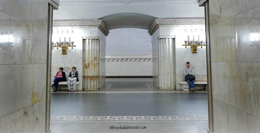 waiting passengers at a Moscow Metro subway station