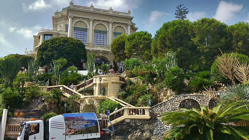 steep terrain leading to the backside of the Casino de Monte-Carlo