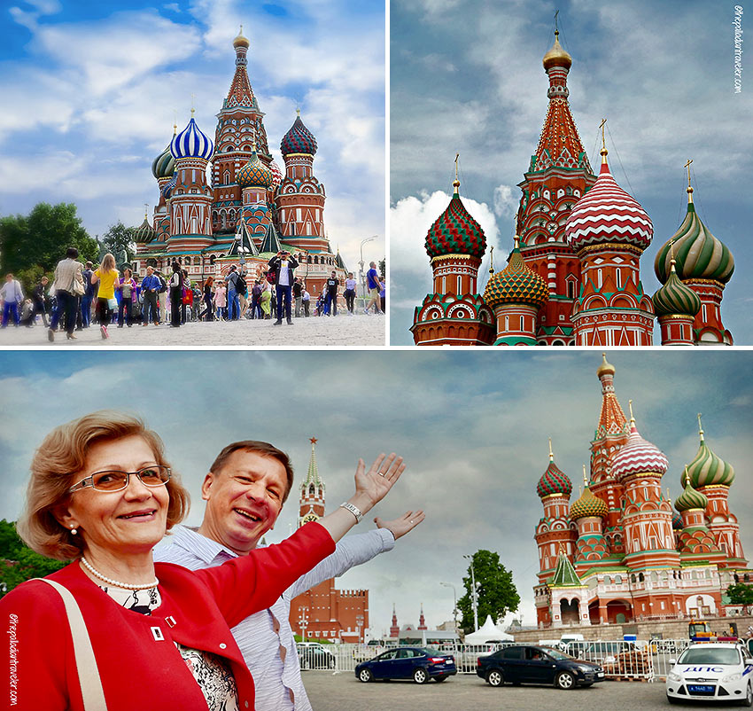 St. Basil's Cathedral, Re Square, Moscow, with Vera and Gennady