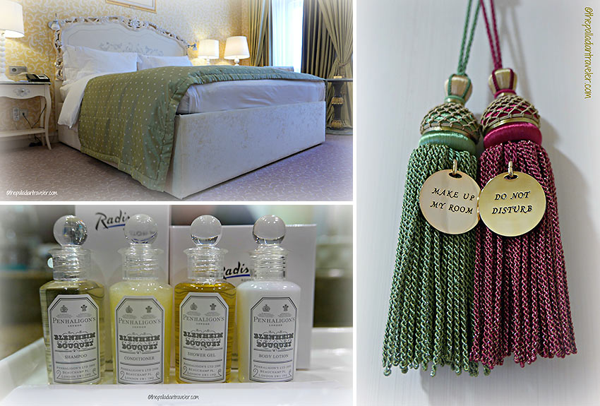 bed and toiletries at writer's room, Radisson Royal Hotel