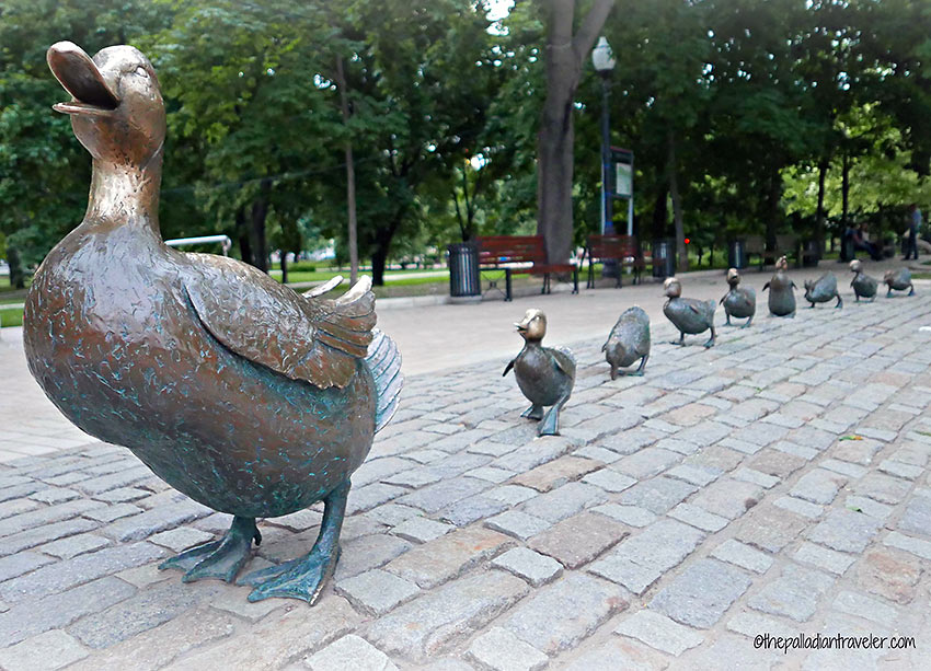 mother duck and duckling statues at Novodevichy Park, Moscow